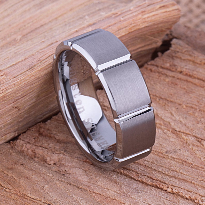 Tungsten Mens Wedding Band or Mans Engagement Band 8mm Satin Beveled Sides Mens Anniversary Gift, Mens Promise Ring or Band, Tungsten Ring - TCR050