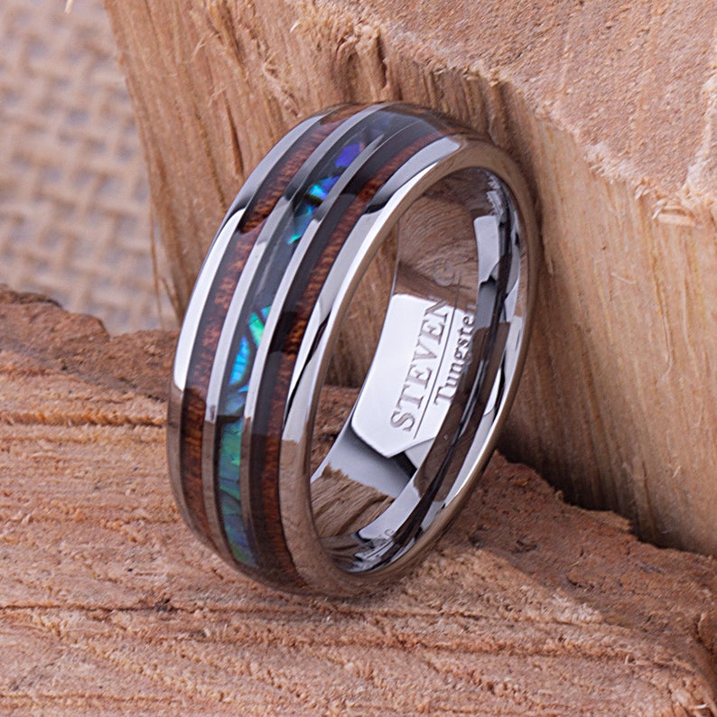 Tungsten Ring with Koa Wood and Abalone Shell 8mm - TCR096 wood and shell engagement band or wedding ring or promise band
