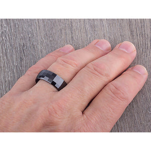8mm Black Ceramic Ring Style Wedding Engagement Band 8mm Wide Faceted Design High Polish Finish Comfort Fit Durable Design - CER021