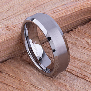 7mm Tungsten Mans Wedding Ring, Mens Engagement Band, 7mm Wide Flat Satin Center Beveled Edge Comfort Fit, Mans Anniversary Gift - TCR044