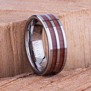 Tungsten Ring with Koa Wood 8mm - TCR092 wood engagement band or wedding ring or promise band for boyfriend