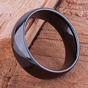 Black Ceramic Mens Wedding Ring or Engagement Band 8mm Wide Rounded High Polish Finish Comfort Fit | Popular Gift -CER031