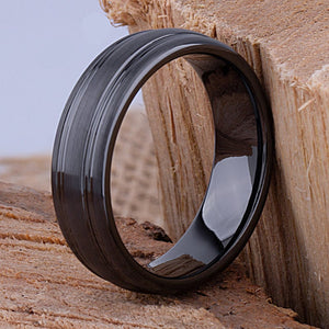 Black Ceramic Mens Wedding Ring or Engagement Band 7mm Wide with Brushed Center, Mens Black Ceramic Band, Mans Wedding Band - CER064