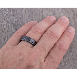 Black Ceramic Promise Ring 7mm - CER064