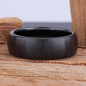 8mm Black Hi-Tech Ceramic Ring Style Wedding Engagement Band 8mm Wide Domed Shaped Light Brush Finish Comfort Fit Popular Gift - CER062