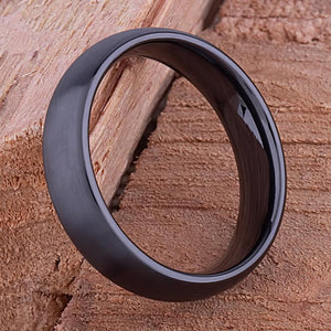 6mm Black Hi-Tech Ceramic Ring Style Wedding Engagement Band 6mm Wide Domed Shaped Light Brush Finish Comfort Fit Popular Gift - CER069