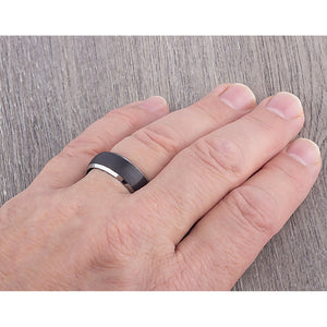 Tungsten Band with Black Plating 8mm - TCR078 black men's wedding or engagement band or promise ring for boyfriend