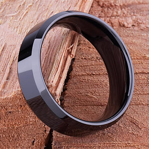 8mm Black Ceramic Ring Style Wedding Engagement Band 8mm Wide Flat Center with Beveled Edges High Polish Finish Comfort Fit Durable - CER033