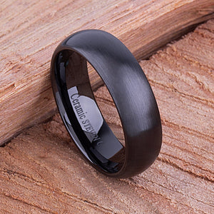 7mm Black Hi-Tech Ceramic Ring Style Wedding Engagement Band 7mm Wide Domed Shaped Light Brush Finish Comfort Fit Popular Design - CER070