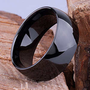 10mm Black Ceramic Classic Ring Style Wedding Engagement Band 10mm Wide Rounded Dome Polished Finish Comfort Fit Popular Durable - CER034