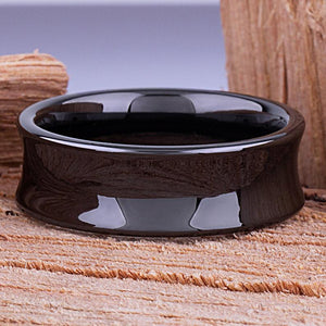 Black Ceramic Concave Wedding Ring 8mm - CER049