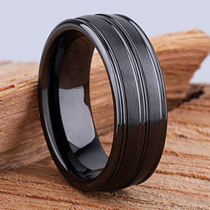8mm Black Ceramic Ring Style Wedding Engagement Band 8mm Wide Double Rounded Ridged Dome Satin/Polished Finish Comfort Fit Durable - CER003