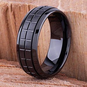 Unique Black Ceramic Ring 8mm - CER012