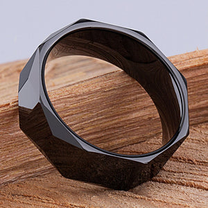 8mm Black Ceramic Ring Style Wedding Engagement Band 8mm Wide Trapezoid Shape Center & Triangle Side Polished Finish Comfort Fit - CER055