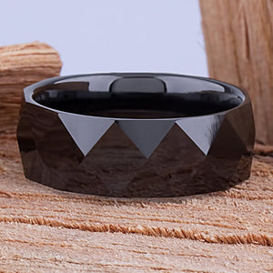 8mm Black Ceramic Ring Style Wedding Engagement Band 8mm Wide Diamond and Triangle Shape Design High Polish Finish Comfort Fit - CER061