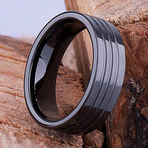 Black Ceramic Mens Wedding Ring or Mens Engagement Band 8mm Rounded with Brushed Center, Promise Ring for Him, Mens Black Ceramic Band - CER071