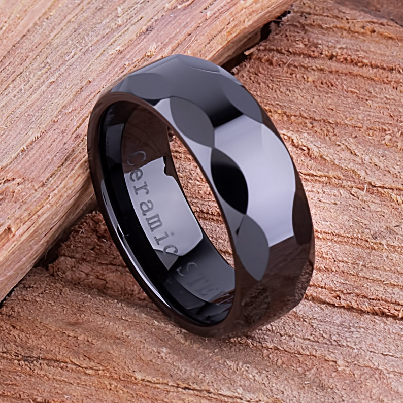 8mm Black Ceramic Ring Style Wedding Engagement Band 8mm Wide with Side Marquise Cut Shapes High Polish Finish Comfort Fit - CER060