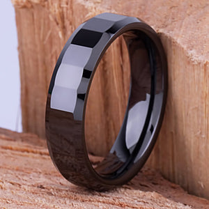 6mm Black Ceramic Ring Style Wedding Engagement Band 6mm Wide Step Cut Design High Polish Finish Comfort Fit Unique Design - CER018