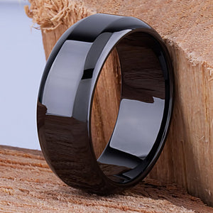 Black Ceramic Wedding Ring or Engagement Band 9mm - CER057