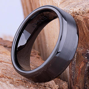 Black Ceramic Mens Wedding Band or Engagement Ring 8mm Wide Flat with Brushed Center & Polished Sides, Promise Ring, Mens Black Ceramic Band - CER044