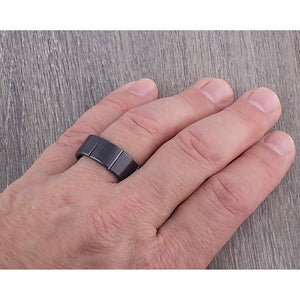 9mm Black Ceramic Ring Style Wedding Engagement Band 9mm Wide Flat with Rectangle Sections Brush Finish Comfort Fit Durable - CER046