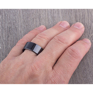 10mm Black Ceramic Ring Traditional Style Wedding Engagement Band 10mm Wide Smooth Flat High Polish Finish Comfort Fit Popular Gift- CER039