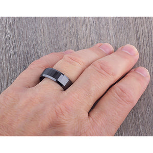 8mm Black Ceramic Ring Style Wedding Engagement Band 8mm Wide Rectangle Shapes Step Cut Center Polished Finish Comfort Fit Durable - CER042