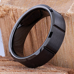 Black Ceramic Mens Wedding Ring or Engagement Band 8mm Wide Flat with Beveled Edges Brushed Finish, Mens Ceramic Band, Gift For Him - CER054
