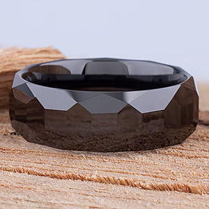 Ceramic Mens Wedding Ring or Mans Engagement Band 8mm Black with Geometric Design, Mens Promise Ring, Anniversary Gift For Him, Ceramic Ring - CER066
