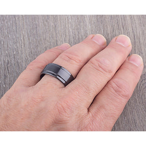 Black Ceramic Mens Wedding Ring or Engagement Band 10mm Wide Flat with Lowered Edges & Brushed Center, Promise Ring, Mens Black Ceramic Band - CER063