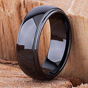 Black Ceramic Mens Wedding Ring or Engagement Band 8mm Rounded with Lowered Edges, Gift for Boyfriend or Husband, Mens Black Ceramic Band - CER032