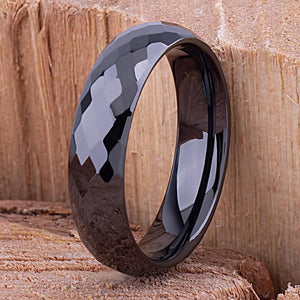 Ceramic Mens Wedding Band or Mens Engagement Band 6mm Black with Diamond Cut Design, Mens Promise Ring, Anniversary Gift For Him, Black Ring - CER030