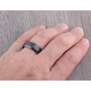 Black Ceramic Mens Wedding Ring or Mens Engagement Band 8mm Rounded with Brushed Center, Promise Ring for Him, Mens Black Ceramic Band - CER013