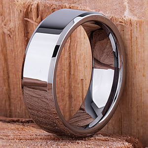 Tungsten Mens Engagement Ring, Mans Wedding Band 8mm Promise Ring for Him, Unique Wedding Band, Mens Anniversary Husband Gift, Tungsten Ring - TCR035