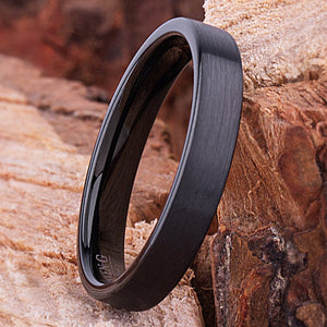 Black Tungsten Ring 4mm - TCR131 black men's wedding or engagement band or promise ring for boyfriend
