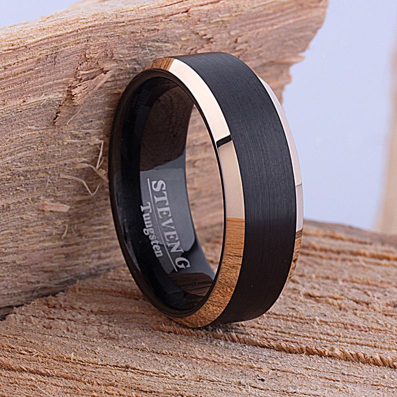 Black and Gold Tungsten Ring 8mm - TCR079 black and yellow gold men's engagement or wedding ring or anniversary band