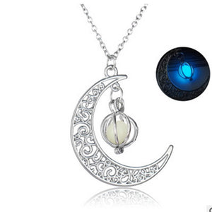Crescent Moon Glowing Stone Necklace