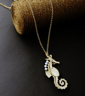 Enamel Sea Horse Long Necklace