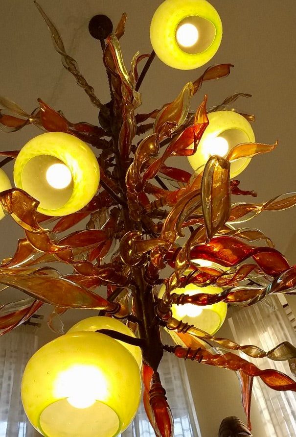 Chandelier 'Kelp Forest' with red leaves & 'fishnet' light cups