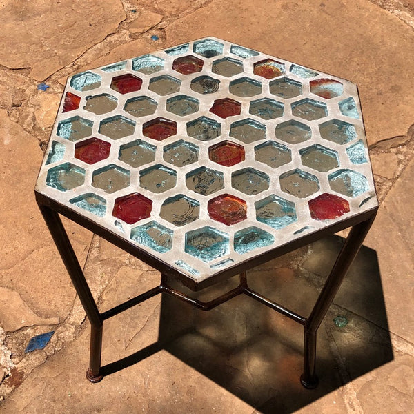 Dalle De Verre table -  hexagon (50cm x 40cm, 48cm high)