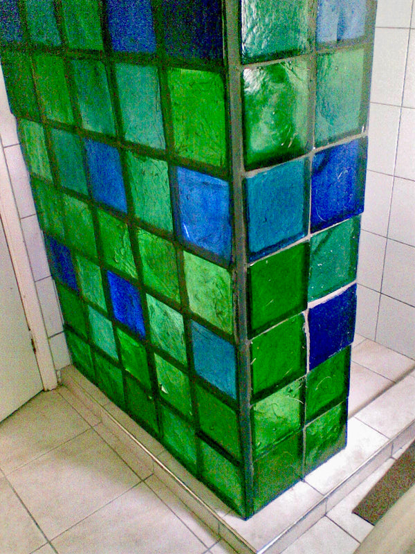 Dalle de Verre shower wall 'Minecraft' 1.4m x 1.8m