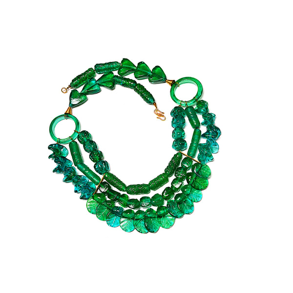 Necklace - 'Blossom In Green' ~ 502g, 38cm