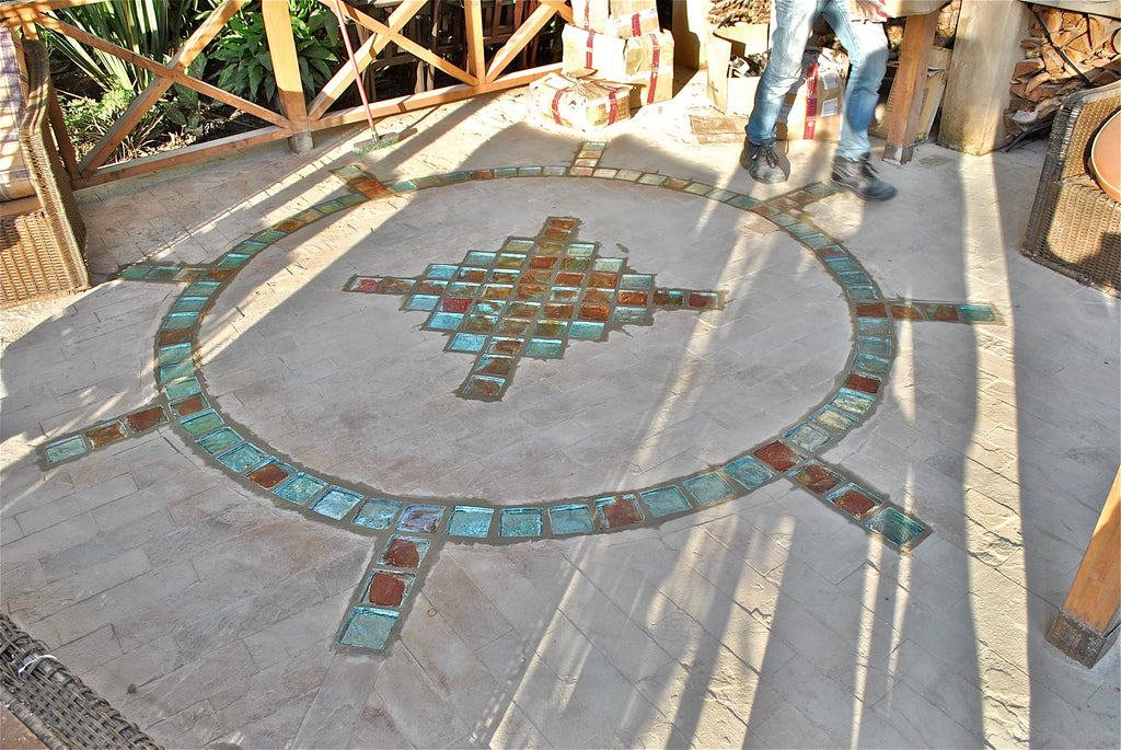 Dalle de Verre 'Compass Rose' floor insert