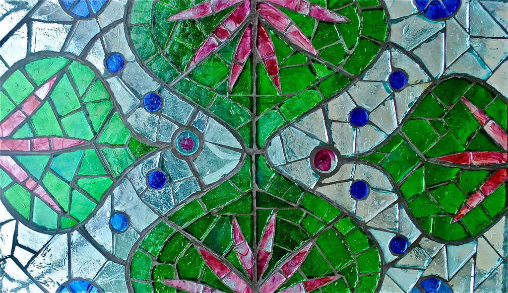 Dalle de Verre 'Lotus' tabletop 1.4m x 0.6m