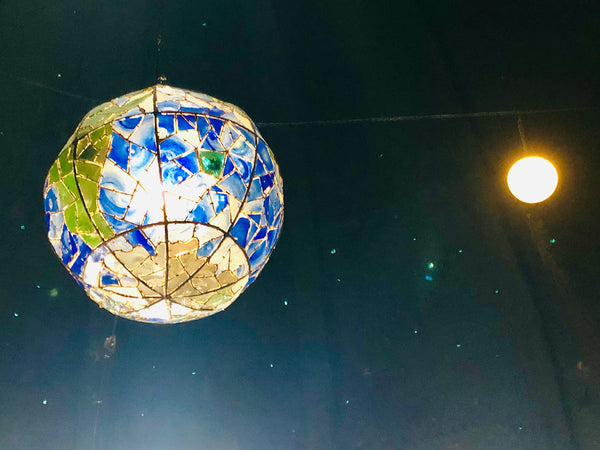 Chandelier 'Battered Earth' hanging globe 3m dia