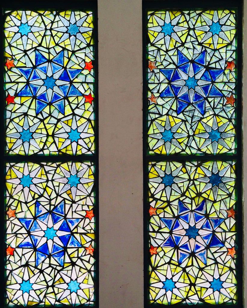 Dalle de Verre 'Islamic pattern' 2 panels 2.2m x 0.6m