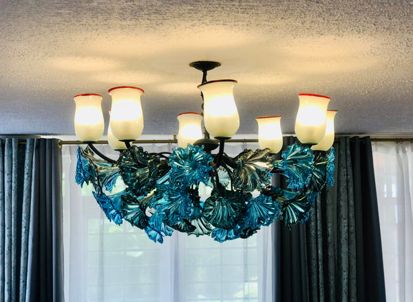 Chandelier 'Kitengela Classic' 8 light cups, turquoise & grey flowers