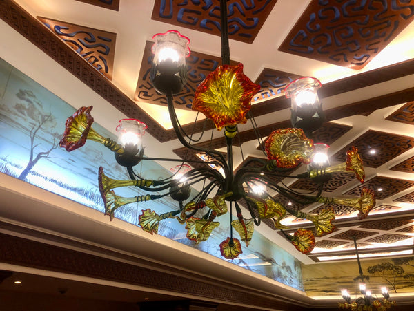 Chandelier 'Serena' 1.8 x 1.2m dia, 8 light cups, yellow w red rim flowers