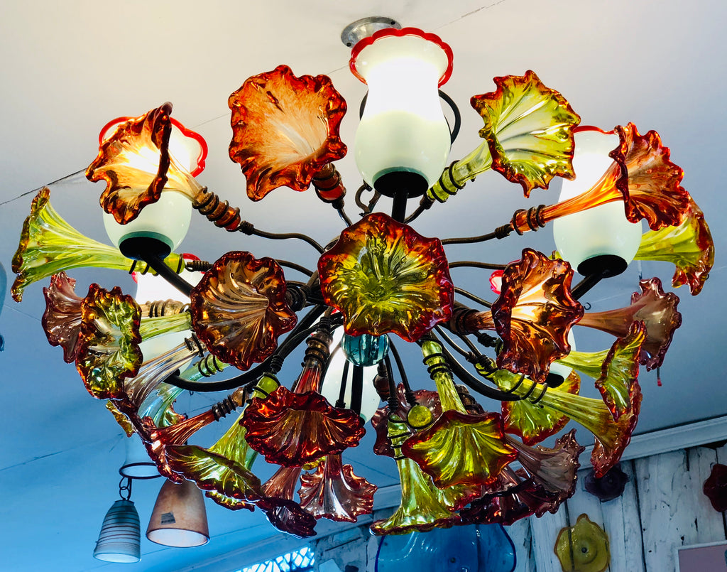 Chandelier 'Kitengela Classic' 6 light cups, red & yellow flowers