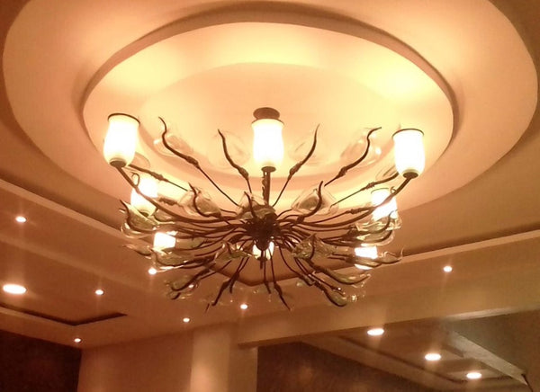 Chandelier 'Squareish' 8 light cups, clear flowers